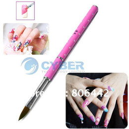 Wholesale Pink Acrylic Powder - Pink Nail Art Brush Acrylic Carving Nail Pen NO.8 Crystal Powder Tool Free Shipping