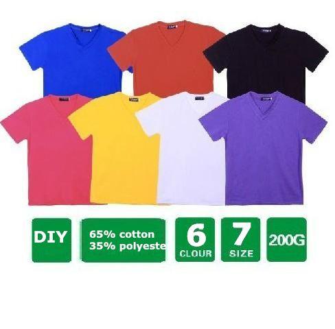 На заказ хлопок футболки V шеи с коротким рукавом DIY 220g XS-XXXL футболки