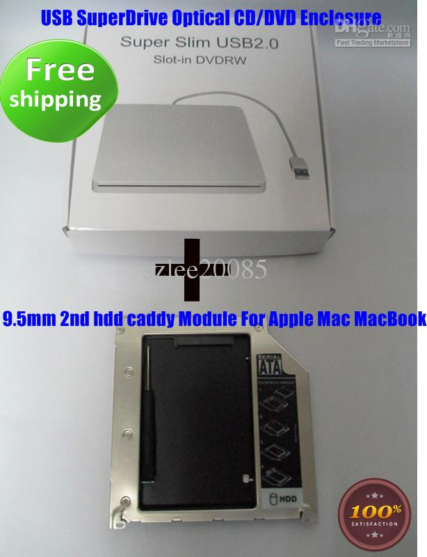 USB superdrive enclosure For Apple Macbook Pro Unibody 2nd HDD SATA Caddy Tray