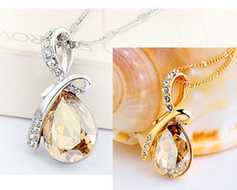 Wholesale Rhinestone Crystal Tear Drop Necklace - Free Shipping Angel Tear Drop Austria Crystal Silver Plated Necklace with swarovski element WORLD WATER DAY