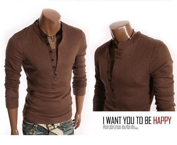 New Man Long Sleeve T Shirt Leisure False Two Long Sleeve T Shirt ...