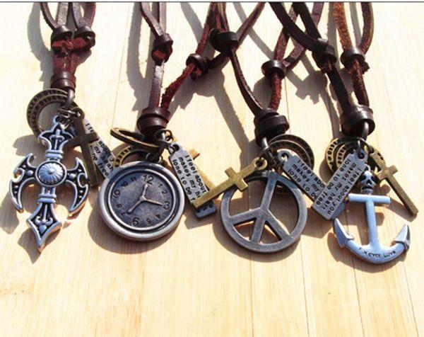 Xmas Handmade Real leather retro cross anchor peace watch pendant necklace men women Mix order 10pcs