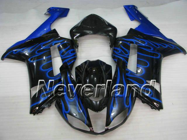 Blue Flames Black Fairing Kit för Kawasaki Ninja ZX6R 07 08 ZX-6R 2007-2008 636 ZX 6R 07 08 2007 2008