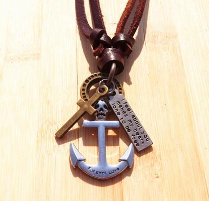 Xmas Vintage Handmade genuine leather cross anchor peace watch pendant necklace Men