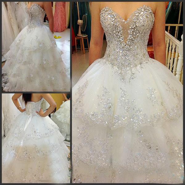 Custom made luxury beaded swarovski crystals Wedding Dresses Real picture Sweetheart beading Lots of Handcirft Court Train Wedding Dresses