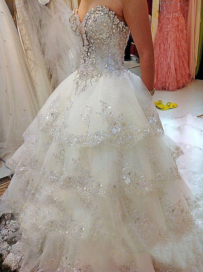 Custom made luxury beaded swarovski crystals Wedding Dresses Real picture Sweetheart beading of Handcirft Court Train Wedding Dresses