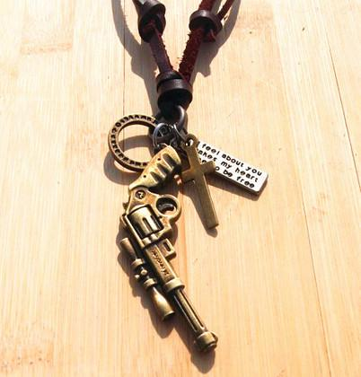 Vintage Handmade genuine leather sniper gun bullet dagger arrow pendant necklace punk Mix orde 10pcs