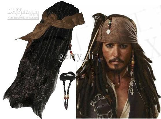 2017 retail pirates caribbean jack sparrow costume accessories wigs beards sets from gerry_li 1816 dhgatecom - Jack Sparrow Halloween Costumes