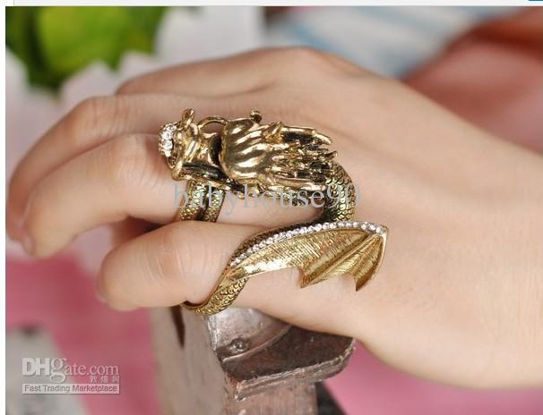 2012new Vintage Dragon Gold Ring Halloween Mens Rings