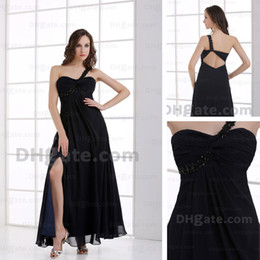Nouvelle Conception De Robes Longues Pas Cher-Image réelle Nouvelle conception One Shoulder Black Chiffon strass Splite Side Evening Prom Dress HX010 Dhyz 01
