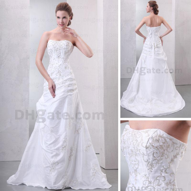 Discount 2013 Simple Strapless White Wedding Dress Gold Appliqued A ...