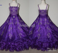Wholesale dreams real - 2015 Dreaming cute Flower Girls Dresses crystal beaded organza A-line purple special occasion Little Girls Pageant Dresses FE-007