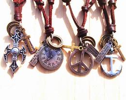 Cross Pendant Genuine Leather Necklace Canada - Xmas Vintage Handmade genuine leather cross anchor peace watch pendant necklace Men Mix order 10pcs