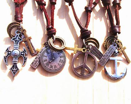 Xmas Vintage Handmade genuine leather cross anchor peace watch pendant necklace Men Mix order 10pcs