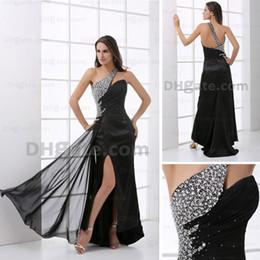 Wholesale Red Rhinestone Chiffon Evening Dress - Famous One Shoulder Beading Evening Dress Rhinestone Black Chiffom Court Prom Dress Real Image HX18 dhyz 01