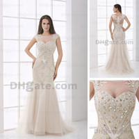 Wholesale Tops Transparent Sleeves - Luxury Beaded Embroidery Evening Pageant Dresses Transparent Neckline Cap Sleeves Sheer Top and Back Tulle Gowns Real