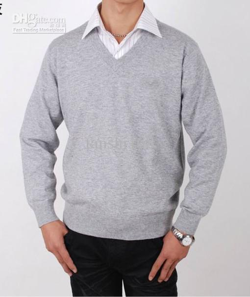 2018 Light Grey Men'S Sweater Men'S V Neck Long Sleeve Free Choose ...