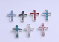 Wholesale Sideways Connector Beads Charms - You could made for DIY bracelts Sideways Rhinestone Crystal Cross Bracelet Connector Charm bead