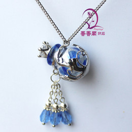 Wholesale Murano Glass Perfume Bottle Pendant - Murano Glass Perfume Necklace Amber Ball perfume fragrance bottle pendant Aroma vial jewelry