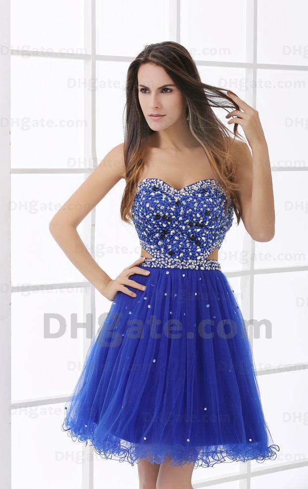 2017 bela azul querida brilhante lantejoulas mini cocktail party dress babados no botton real imagem hx30