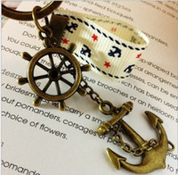 Wholesale Wholesale Wind Flags - Retro The Keychains HYES Navy Wind Keyrings Eiffel Tower Pendants 4 Models