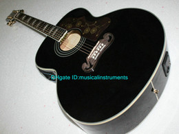 Guitar Factories Canada - Newest Black 200 Acoustic Electric Guitar with EQ Speical Sales HOT China Factory