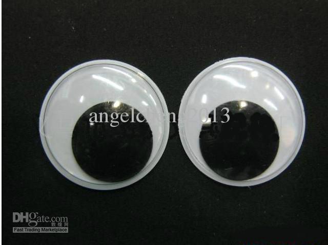 1000pcs / parti 25mm ep pet blackwhite leksak ögon, leksaker ögon / aktiviteter ögon plast ögon / docka ögon