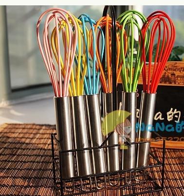 Whisk Whisk Agitador Misturador Ovo Batedor Cor Ovo de Silicone Whisk Hand de aço inoxidável 10