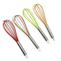 """Wholesale Silicone Mixer - Wire Whisk Stirrer Mixer Egg Beater COLOR SILICONE EGG WHISK STAINLESS STEEL HANDLE 10"""""""