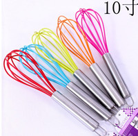 "Wholesale Whisk Egg Handle - 10"" SILICONE COATED EGG WHISK EGGBEATER STAINLESS STEEL HANDLE KITCHEN GADGET"