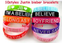 Wholesale Justin Bieber Charms - 20pcs NEW Justin Bieber Silicone bracelets Wristbands 10styles Mix Wholesale Fashion Jewelry Lots