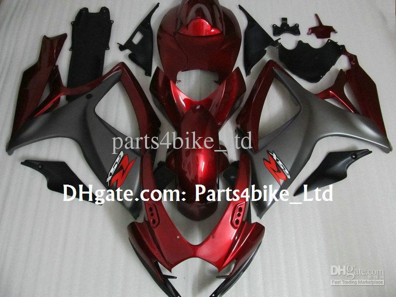 Red Matte Grey Fairing Kit för 2006 2007 Suzuki GSXR 600 750 K6 GSXR600 GSXR750 06 07 GSX R600