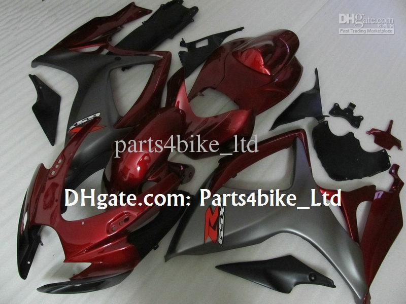 kit de carenagem cinza fosco vermelho para 2006 2007 SUZUKI GSXR 600 750 K6 GSXR600 GSXR750 06 07 gsx r600