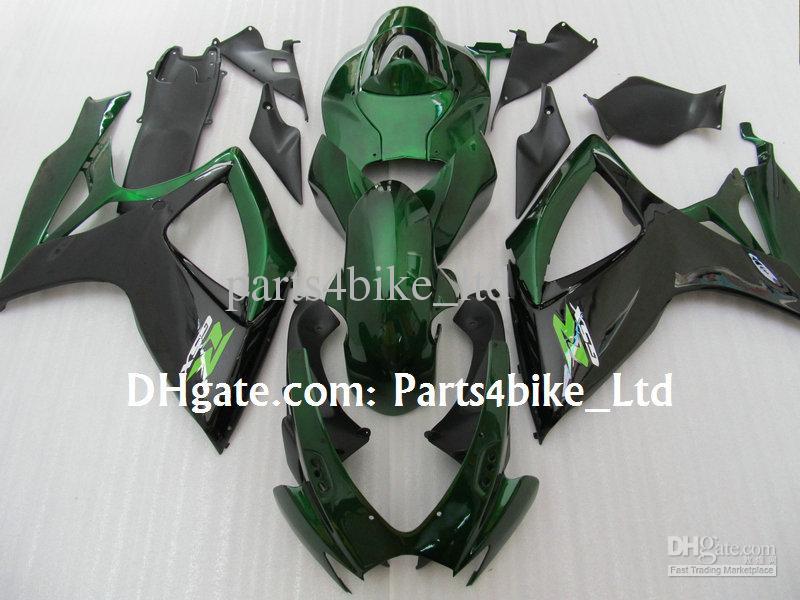 Kit de carénage ABS vert noir populaire 2006 2007 SUZUKI GSXR 600 750 K6 GSXR600 GSXR750 06 07 Kit de carénage gsx r600 avec 7 cadeaux