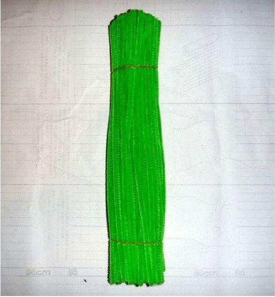 Chenille de bricolage vert jaunâtre de 6mm * 30cm et cure-pipes 500pcs / lot