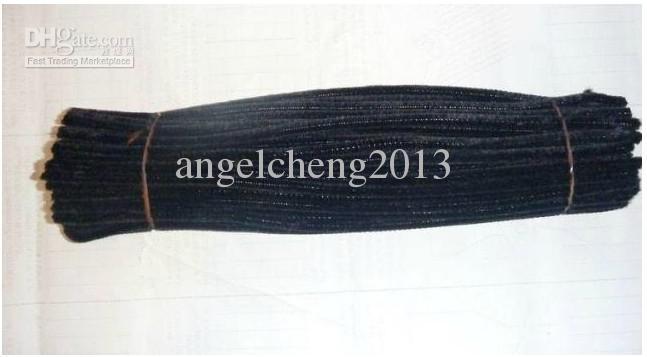 6mm * 30 cm preto diy chenille hastes e produtos de limpeza de tubos 1000 pçs / lote