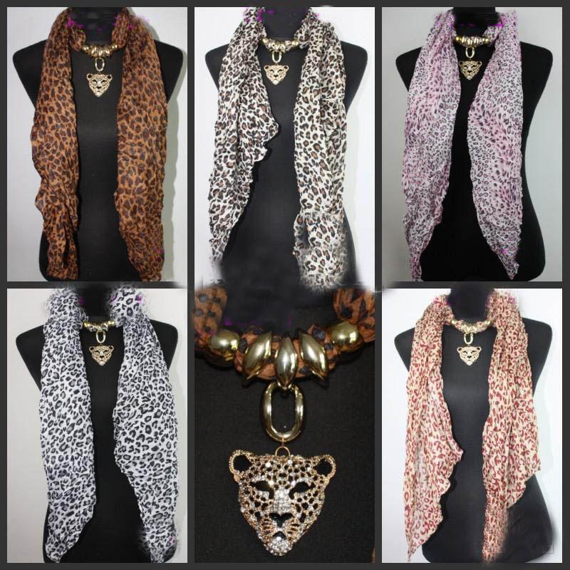 20 STÜCKE * Leopard Kopf Anhänger Schal Leopard Schmuck Halsketten Schal Kristall Schmuck Schals Mode Leopard Print Schal