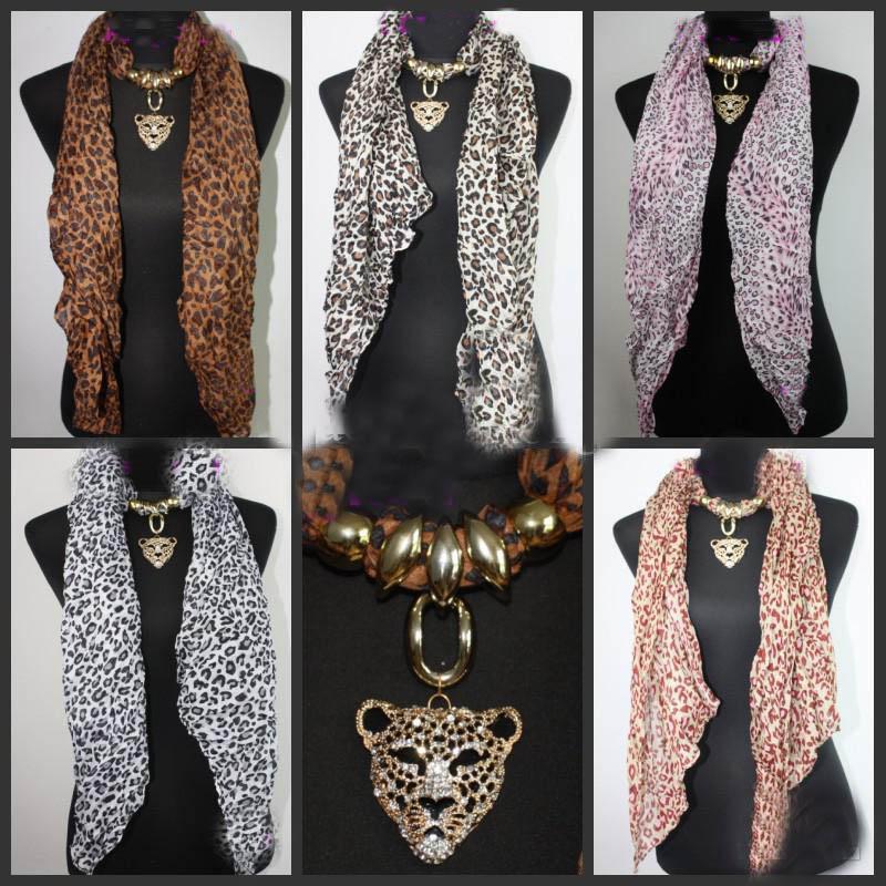 mix 15 шт. * Leopard глава кулон шарф леопарда ювелирные изделия ожерелья шарф Кристалл ювелирные изделия шарфы