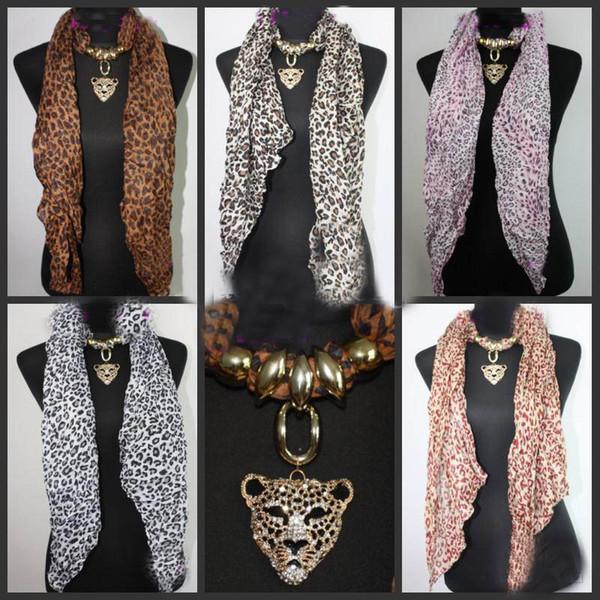 20pcs * Leopard Head colgante bufanda leopardo joyería collares bufanda Crystal joyas bufandas moda Leopard Print bufanda