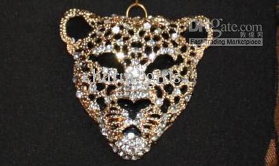 * Leopard Head colgante bufanda leopardo joyería collares bufanda Crystal joyas bufandas moda Leopard Print bufanda