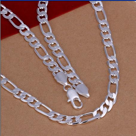 8MM 20inches plated 925 sterling silver fashion men's chain necklace Top quality free shipping 10pcs