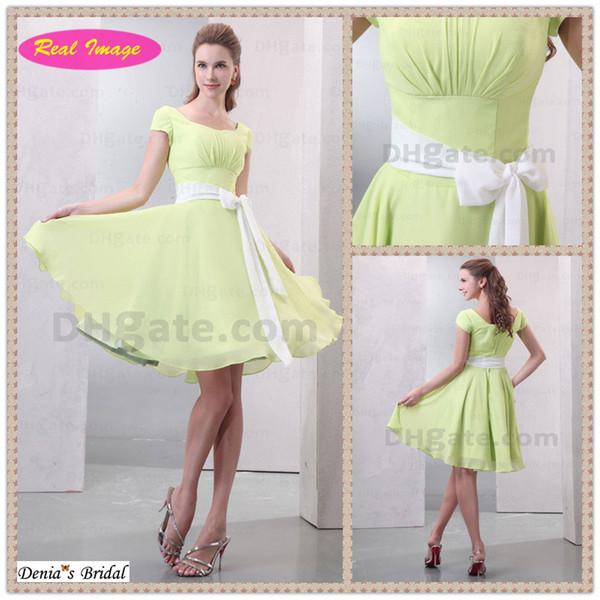 Красивое светло-зеленое платье для подружки невесты с квадратным вырезом для девочек с коротким рукавом из шифона HX56 Dhyz 01