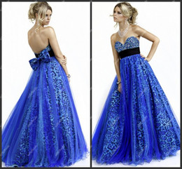 Wholesale Dress Girl Brown Leopard - Royal Blue Over Leopard A-line Long Prom Dress Young Girls Party Dress 2012 Latest Design
