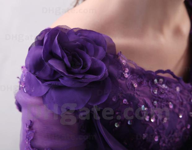 2013 prachtige paarse juweel moeder jurk halve mouw in kant handgemaakte bloem thee-lengte jurken HX57 Dhyz 01