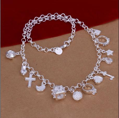 Hoge kwaliteit 925 zilveren hangers Geplaatst nek ketting mode cadeau sieraden gratis verzending 10pcs / lot
