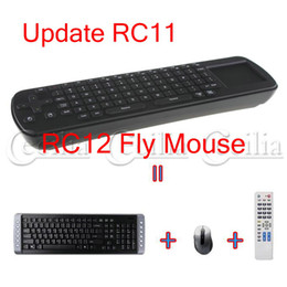 Wholesale Android Tv Rc12 - Free Shipping Touchpad Fly Air Mouse RC12 2.4GHz wireless Keyboard for google android Mini PC TV BOX