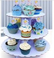 stiefel kuchen stehen großhandel-3-reihig dicker Papierkuchenständer Cupcake Stand rosa und blaue Punkte Stabil