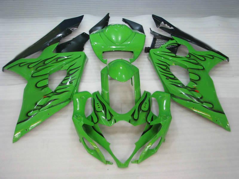 ABS Fairing Kit voor Suzuki GSXR1000 05 06 GSXR 1000 2005 2006 K5 GSX R1000 Zwart Vlammen Groene Vallen Set
