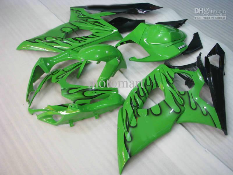 ABS Fairing Kit för Suzuki GSXR1000 05 06 GSXR 1000 2005 2006 K5 GSX R1000 Black Flames Green Fairings Set