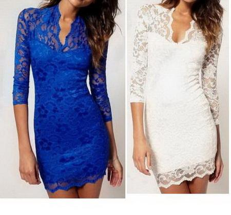 V neck blue lace dress